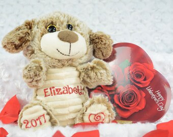 Puppy Valentine Stuffy - Valentine's Day Gift - Personalized Gift - Puppy Valentine