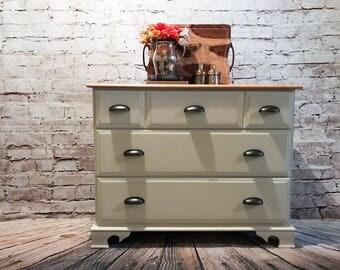 Antique white maple dresser/white tv console/farmhouse /country chic