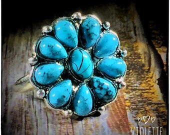 1990s Bohemian Chic Turquoise Floral Alloy Statement Ring Size 6 | Hypoallergenic Rings | Fashion Rings | Womens Rings | Statement Jewelry