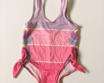 Vintage Healthtex Pink Purple Bathing Suit Swim Suit Baby Girl 6-12 months