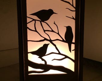 FREE Shipping* - Three little birds table lamp, desk lamp, laser cut lamp, candle box