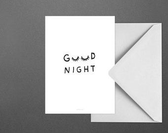 Postkarte Good Night / Sleep, Eyes, Closed, Typography Art, Kunstdruck
