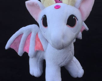 Pendragons custom plush Dragon OOAK white with shades of pink