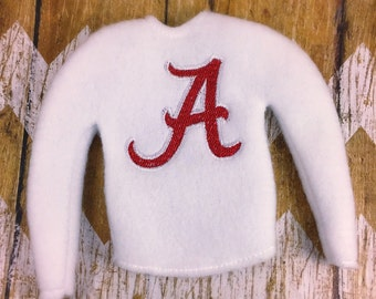 """12"""" doll shirt / doll clothing / holiday clothing / dress up clothes / doll clothing /  sweater / A /crimson /"""