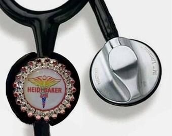 Custom Stethoscope Name Tag, Swarovski Rhinestone Nurse Bling Stethoscope ID Charm, Gift for Nurse