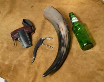 Large drinking horn, with corkscrew belt holster, for the modern Viking