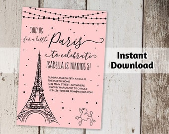 5x7 invitation etsy paris invitation girls birthday party printable template print on card stock with no color stopboris Gallery