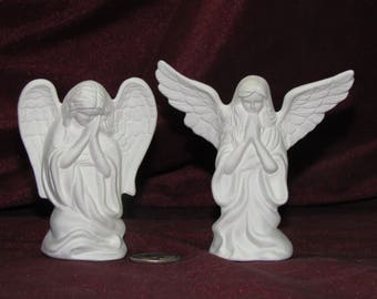 Ceramic Bisque U-Paint Pair Of Small Angels Praying Unpainted Ready To Paint DIY