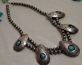 """Antique NAVAJO Natural Carico Lake TURQUOISE Stamped STERLING Silver Shadow Box 18"""" Squash Blossom"""