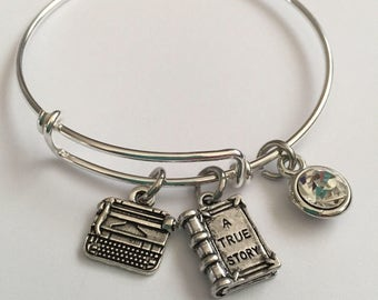 Typewriter Bracelet-Bracelet with typewriter book and stone- for the writer author