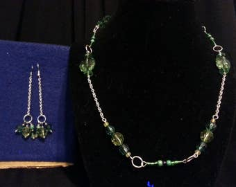 Green and Silver Jewelry Set