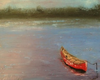 Red canoe painting, canoe on a lake, boat, pond, palette knife thick impasto FREE SHIPPING