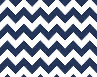 Riley Blake NAVY, Medium Chevron sold by the yard