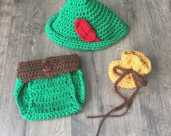 Peter Pan Inspired Outfit 3-Piece Set Including Hat, Diaper Cover, and Money Bag Handmade Crocheted RTS Made in the USA