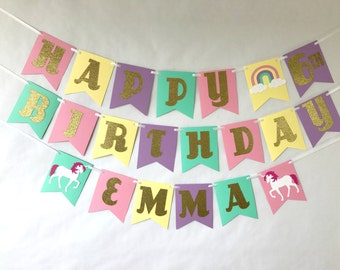 Unicorn Birthday Banner - gold glitter - party supplies - rainbow party - pastel