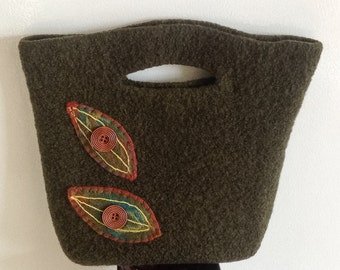 Wool felted purse handbag shoulder bag wool yarn felted hand knit purse Tote bag purse organizer olive heather magnetic closure