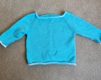 Aqua Blue Hand Knit Children's Sweater - size 2