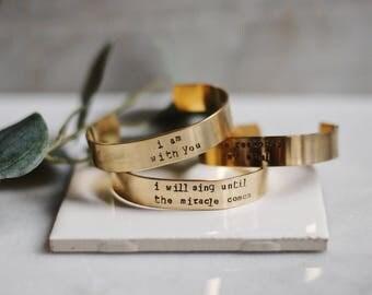 Customized 1/2 inch Gold Cuff Bracelet