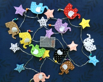 Elephants string lights, fairy lights, children lighting, party lights, home decors, kid lighting