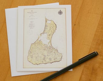 "Block Island Map Note Cards (1914) 4.25""x5.5"""