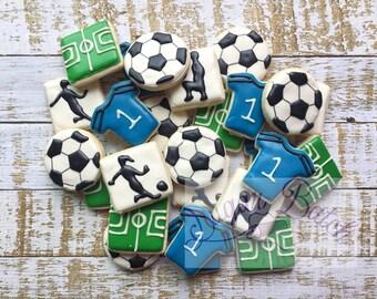 2 Dozen Mini Soccer Theme Decorated Cookies Set