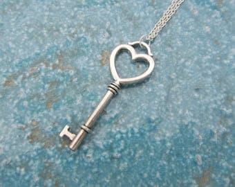 Key necklace, heart necklace, key jewelry