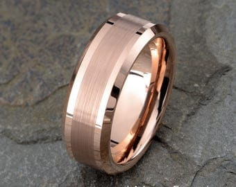 Tungsten Wedding Band, Rose Gold Tungsten, Tungsten Wedding Ring, Anniversary Band, Mens Tungsten Ring, Brushed Ring, 8mm Personalized Ring