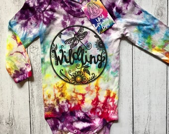 PRE-ORDER - Wildling Print Custom dyed bodysuit - size 00000 to 2 hand dyed and printed