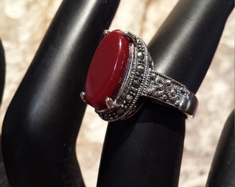 Sterling silver carnelian and marcasite ring