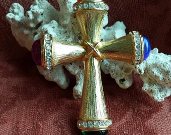 Vintage gold jeweled cross brooch
