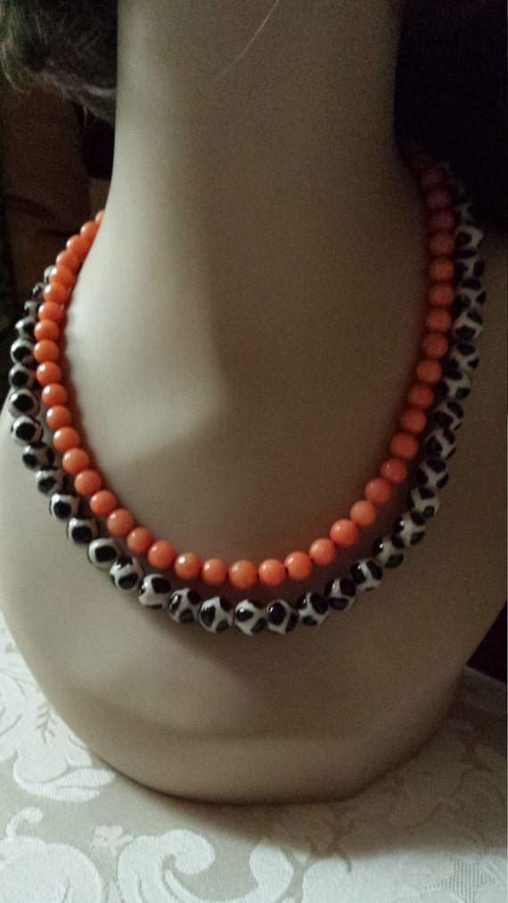 Two strand faceted jade and painted jasper necklace
