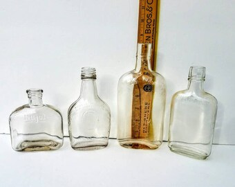 Antique Glass Bottles Lot of Four