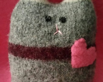 Kitty Cat Pocket Pet Stuffed Doll Soft Sculpture Needle Sculpted Upcycled Wool