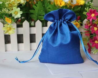 50pcs Blue Silk Bags, Silk Jewelry Pouch, Satin Patterns Gift Bag, Wedding Favor Bag, Wedding Jewelry Bags, Gift Bags