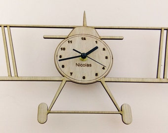 """Wooden wall clock - """"Airplane"""" - engrave child name"""