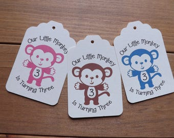 Our Little Monkey Birthday tags-party favor tags-party bag tags-kids Birthday supplies-Birthday supplies-favor supplies-Monkey gift tags