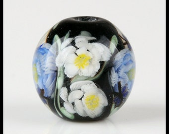 Lampwork Beads Handmade -  Lampwork Focal Beads/ Lampwork Glass Beads - Floral Glass Pendant - 20 MM