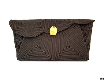 Mardane Genuine Cordé brown cord envelope clutch purse 1940s handbag