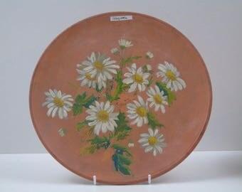 Teracotta Longpark Torquay Pottery C.1900 Handpainted Round Plate 28cm