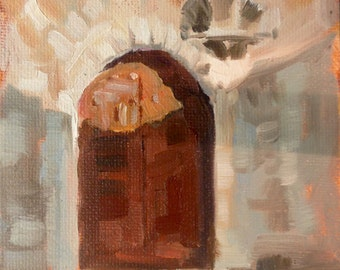 Door I – St. Guillem de Desert, original en plein air oil Painting by Canadian Artist Kindrie Grove
