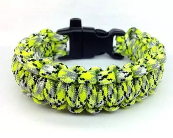"Paracord Bracelet ""Zombie Infection"" with Whistle Handmade Camo Survival Hiking Hunting USA Made"