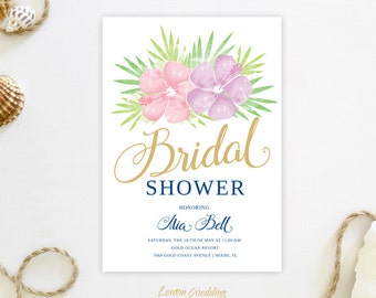 Pink and gold Bridal Shower invitations PRINTED | Hawaiian bridal shower invitations cheap | Beach bridal shower party