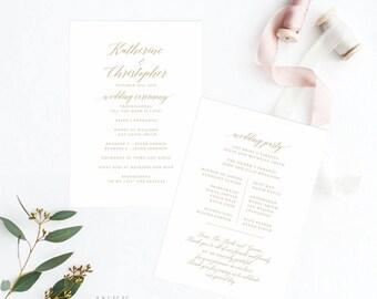 Printable Wedding Program - Modern Romantic Calligraphy Wedding Program PDF - Wedding Reception Program Fan - (Item code: P479)