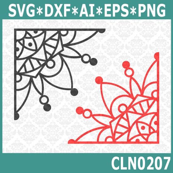 CLN0207 Corner Mandala Laptop Corners Design Edge Boho SVG DXF Ai Eps PNG Vector Instant Download Commercial Cut File Cricut Silhouette