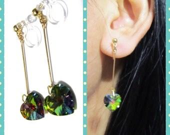 Peacock Swarovski Rhinestone Clip On Earrings |7M| Heart Earrings Wedding Clip On Earrings Non Pierced Earrings Bridal Clip On Earrings