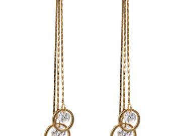 Temperament tassel pendant crystal gold earrings
