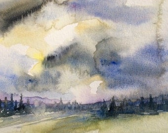 Pacific Northwest, stormy landscape, Northwest art, storm clouds, conifers, pine trees, wilderness, Washington state, landscape watercolor