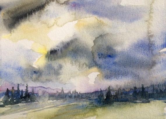 Pacific Northwest, stormy landscape, Northwest art, storm clouds, conifers, pine trees, wilderness, Washington state, landscape watercolor