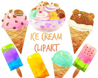 Ice Cream Clipart, Ice Cream clip art, Popsicle clipart, for personal and commercial use,  planner stickers, scrapbooking