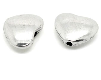 50 Silver Tone Love Heart Spacer Beads 11x9mm